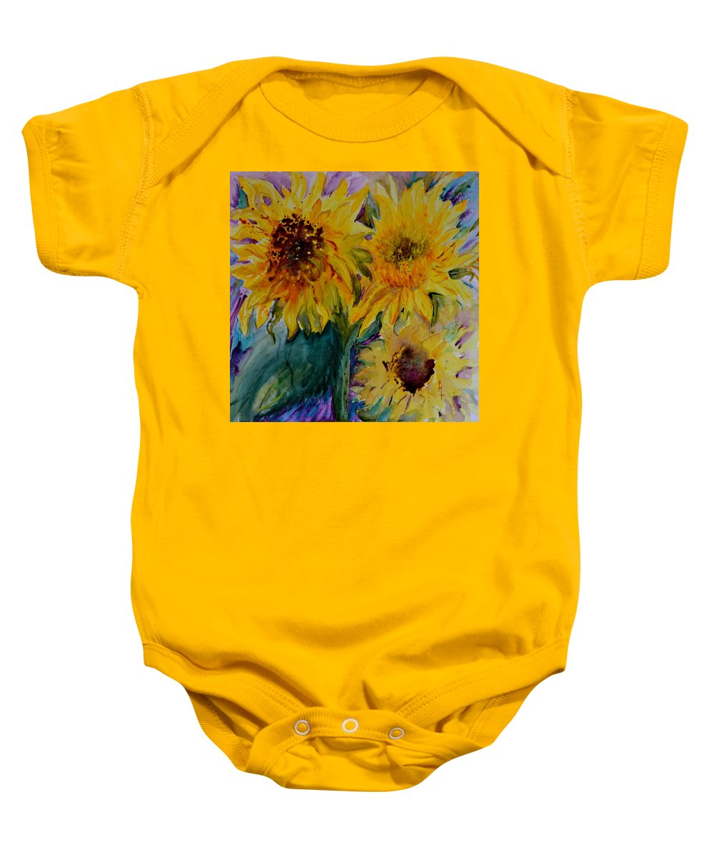 Sunflowers Baby Onesie featuring the painting Three Sunflowers by Beverley Harper Tinsley