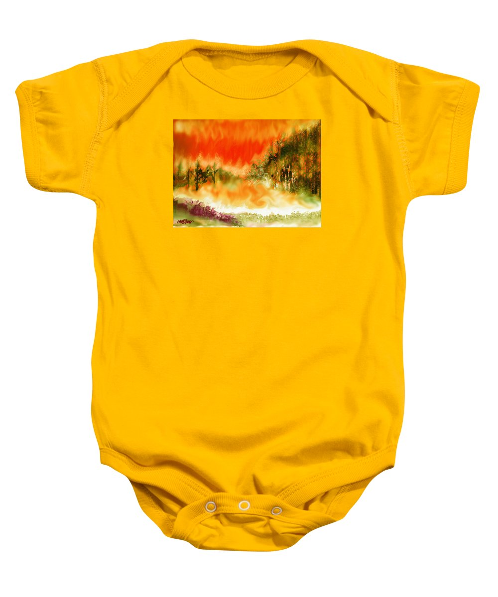 Timber Blaze Baby Onesie featuring the mixed media Timber Blaze by Seth Weaver