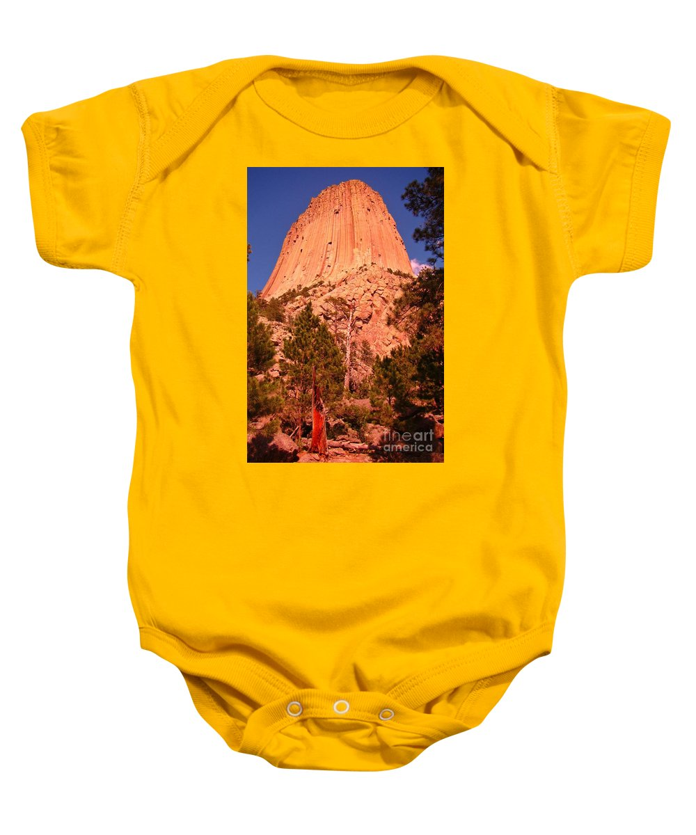 Geology Prints Baby Onesie featuring the photograph Tree At Devils Tower by John Malone