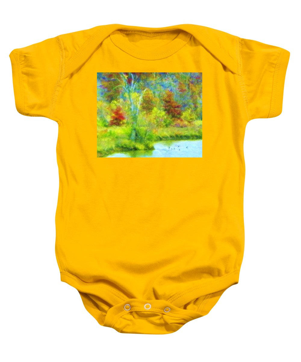 Trees Baby Onesie featuring the painting Trees In Spring On A Lake by Susanna Katherine
