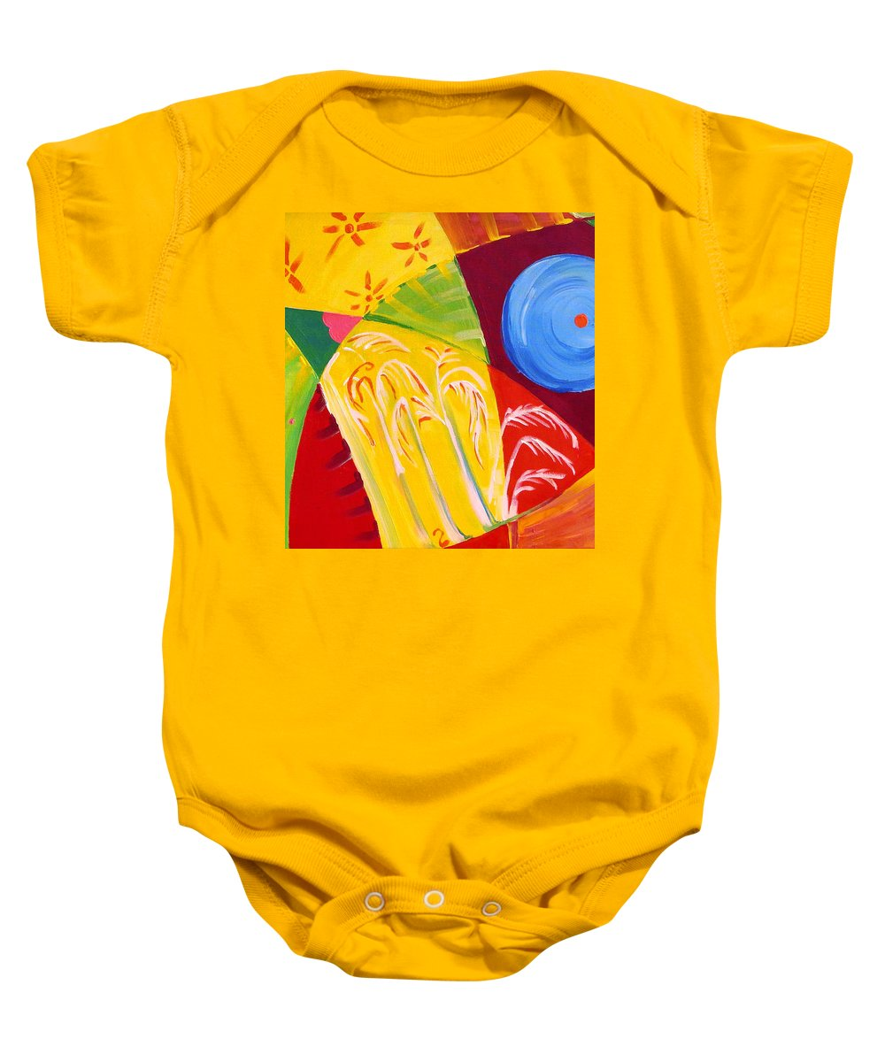 Birds Baby Onesie featuring the painting Tropical Bound by Raluca Nedelcu