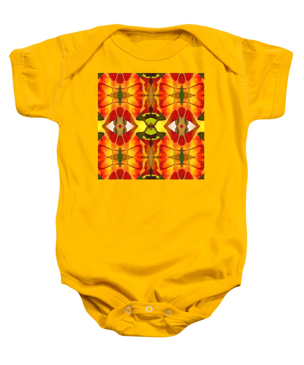 Abstract Baby Onesie featuring the painting Tropical Leaf Pattern 4 by Amy Vangsgard
