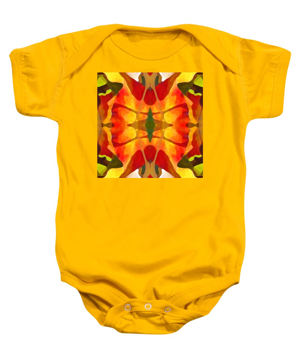 Abstract Baby Onesie featuring the painting Tropical Leaf Pattern5 by Amy Vangsgard