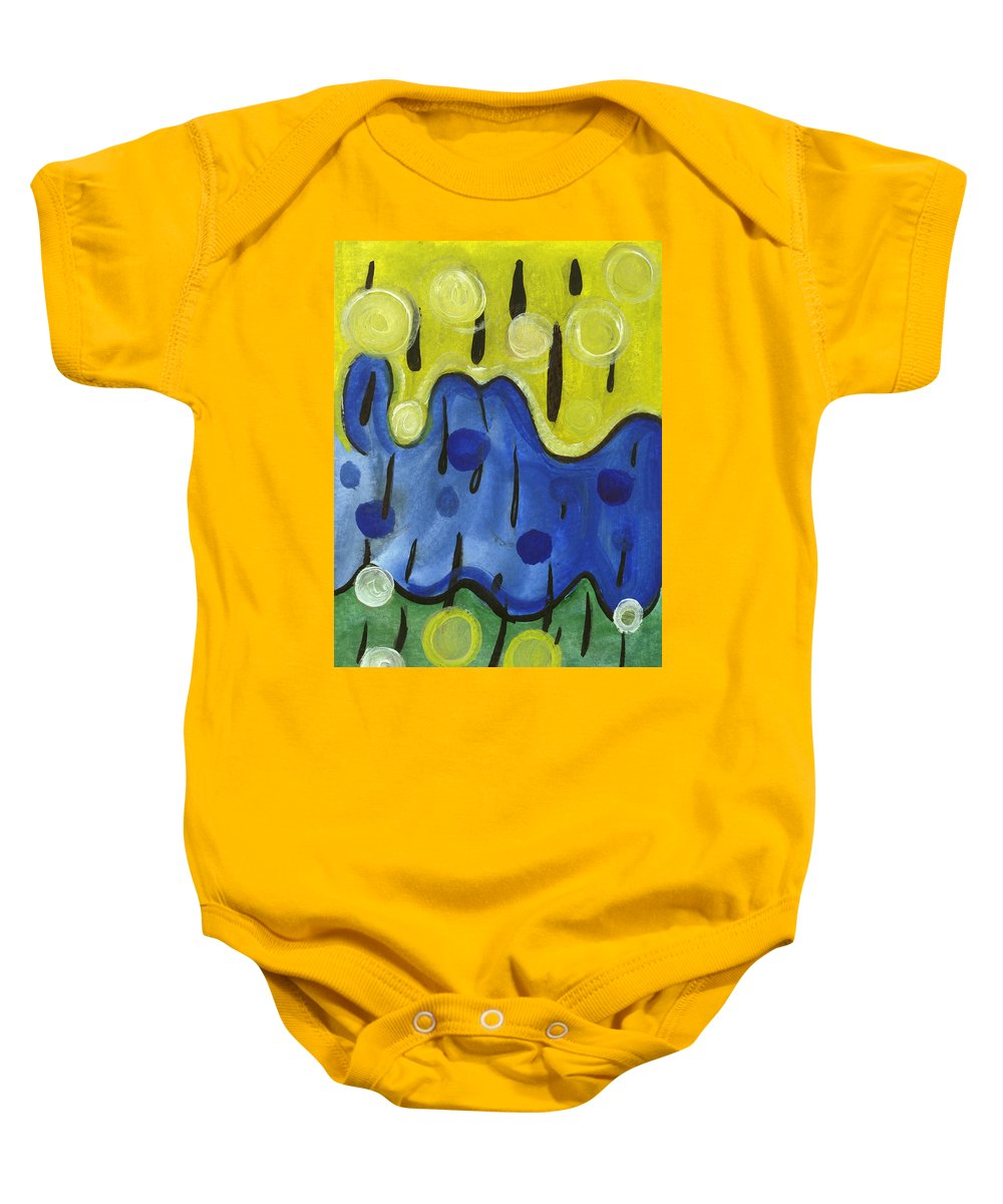 Abstract Art Baby Onesie featuring the painting Tropical Rain by Stephen Lucas