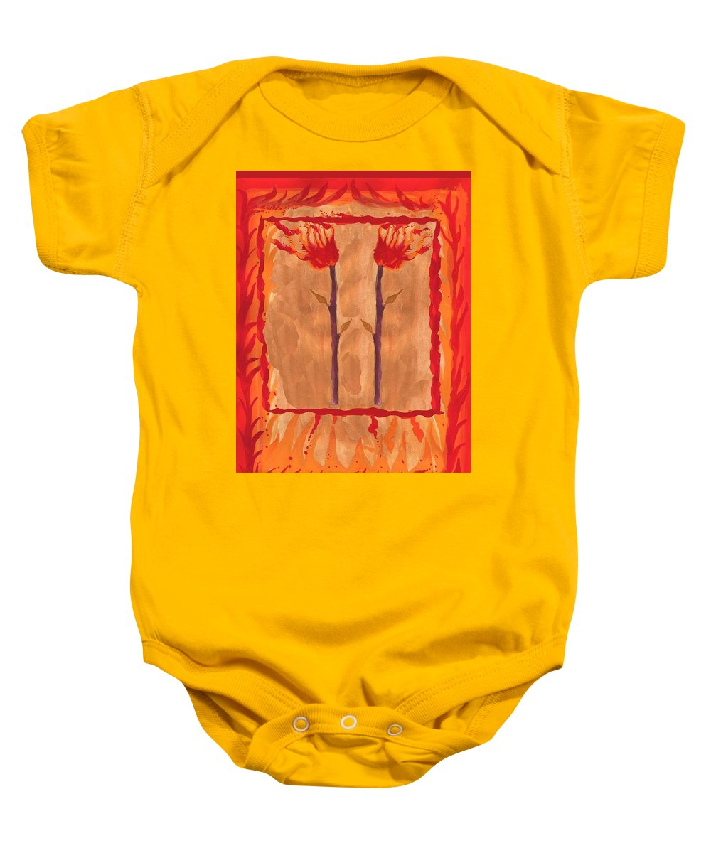 Tarot Baby Onesie featuring the painting Two Of Wands by Sushila Burgess