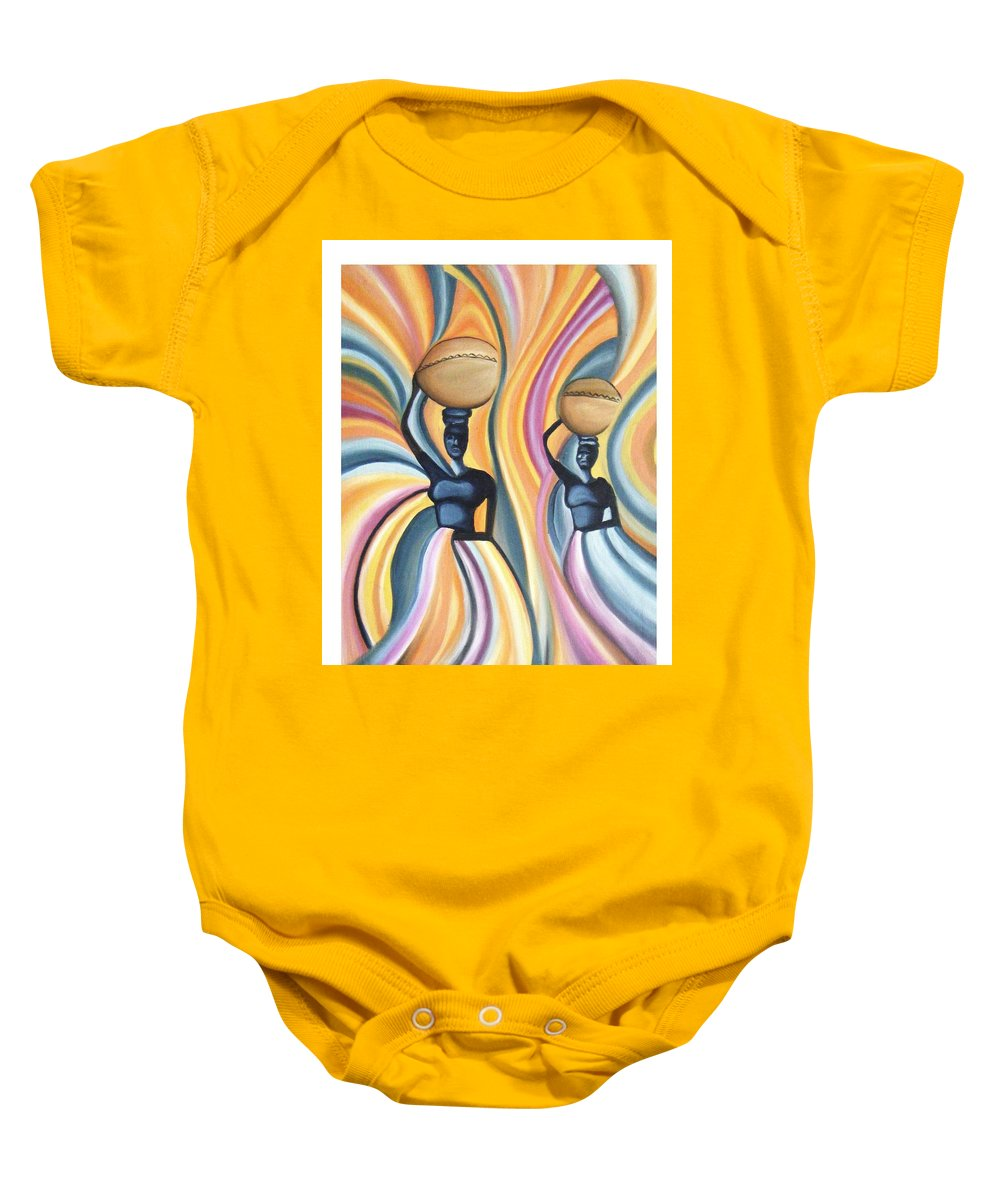 Oil Baby Onesie featuring the painting Unity by Olaoluwa Smith
