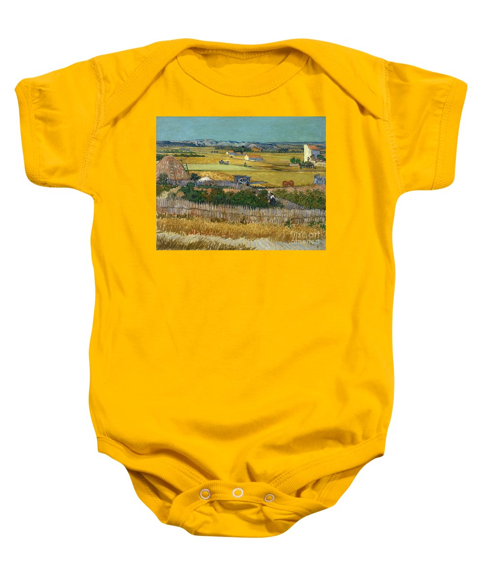 1888 Baby Onesie featuring the painting Van Gogh Wheatfield 1888 by Granger