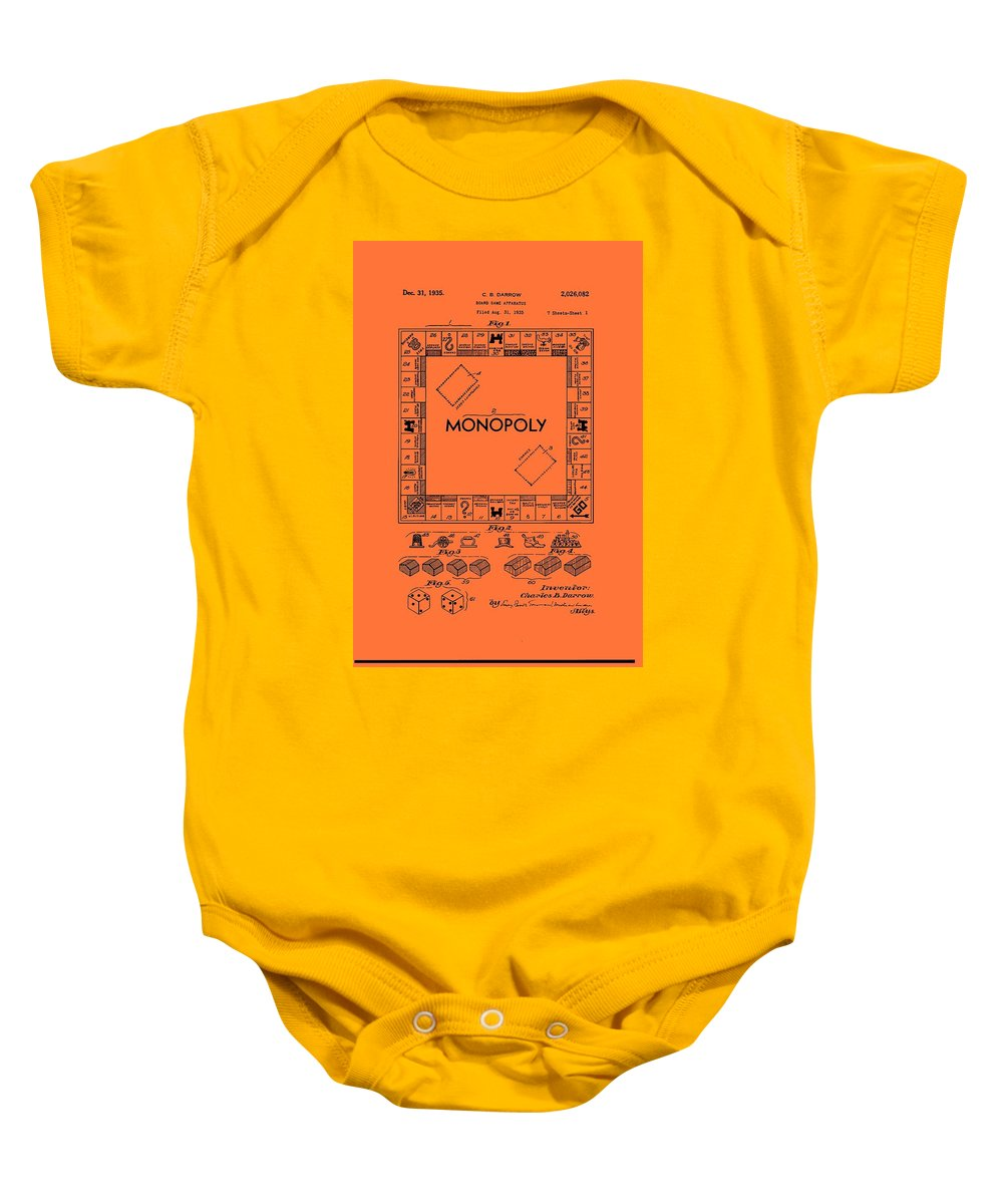 Patent Baby Onesie featuring the drawing Vintage Monopoly Game Patent by Mountain Dreams