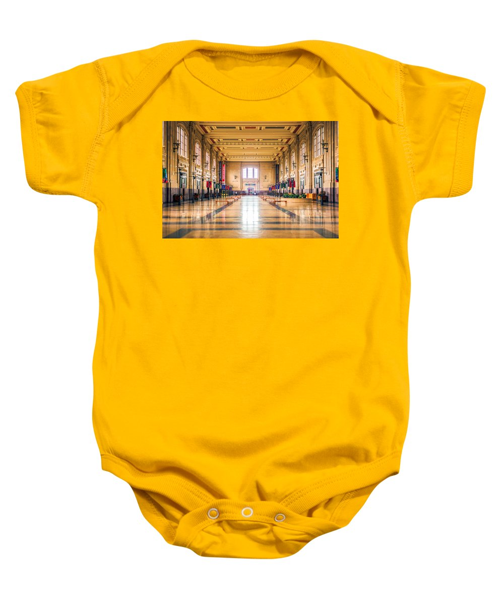 4 O'clock Baby Onesie featuring the photograph Waiting For The Train by Sennie Pierson