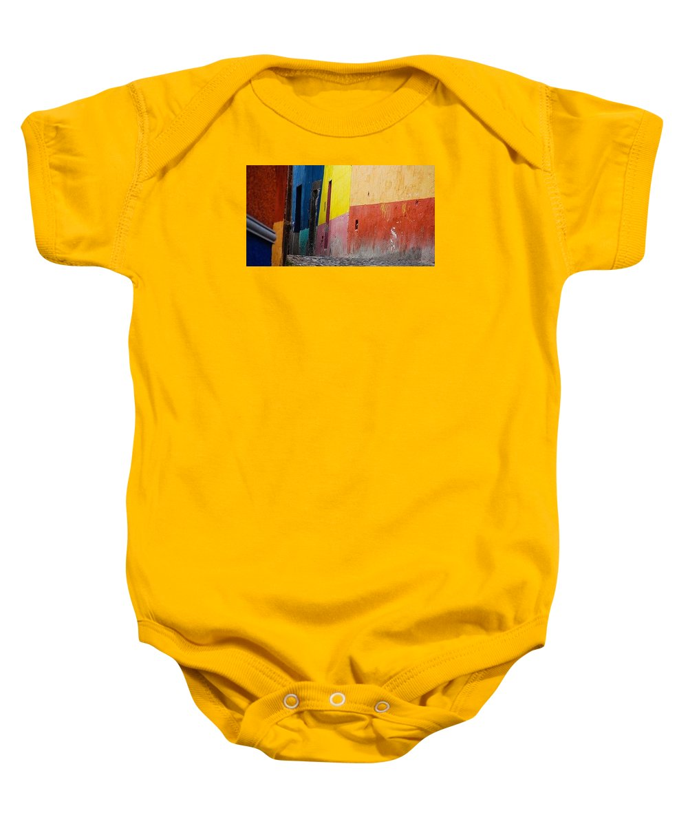 Multi Colored Wall Baby Onesie featuring the photograph Wall 1 by Jacqueline Russell