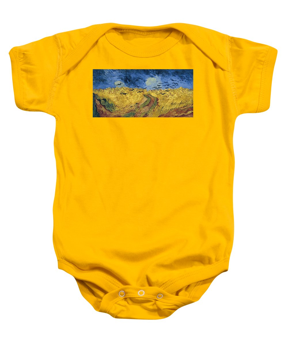 Vincent Van Gogh Baby Onesie featuring the painting Wheatfield With Crows by Celestial Images