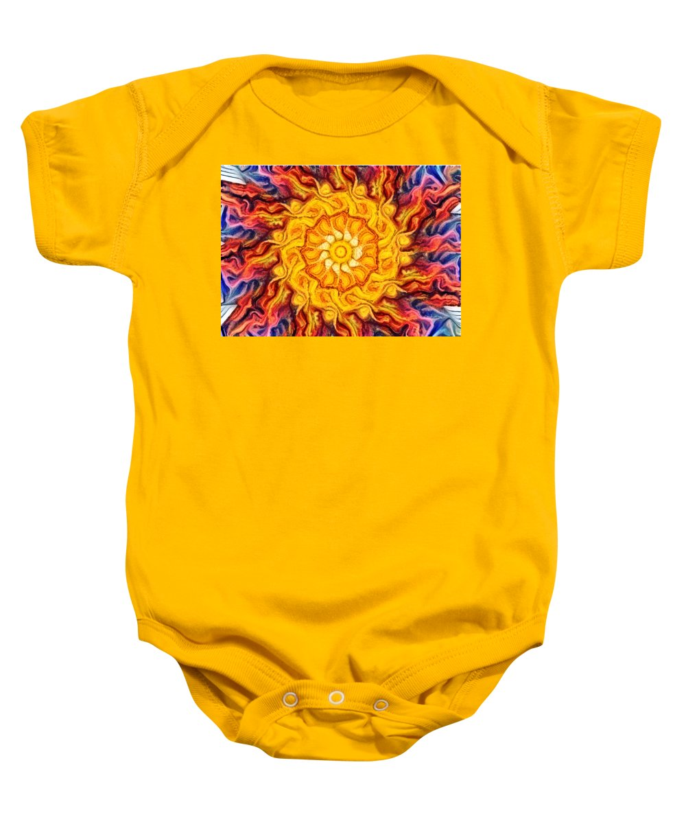 Abstract Baby Onesie featuring the digital art Wheel Of Fire by Paul Gioacchini