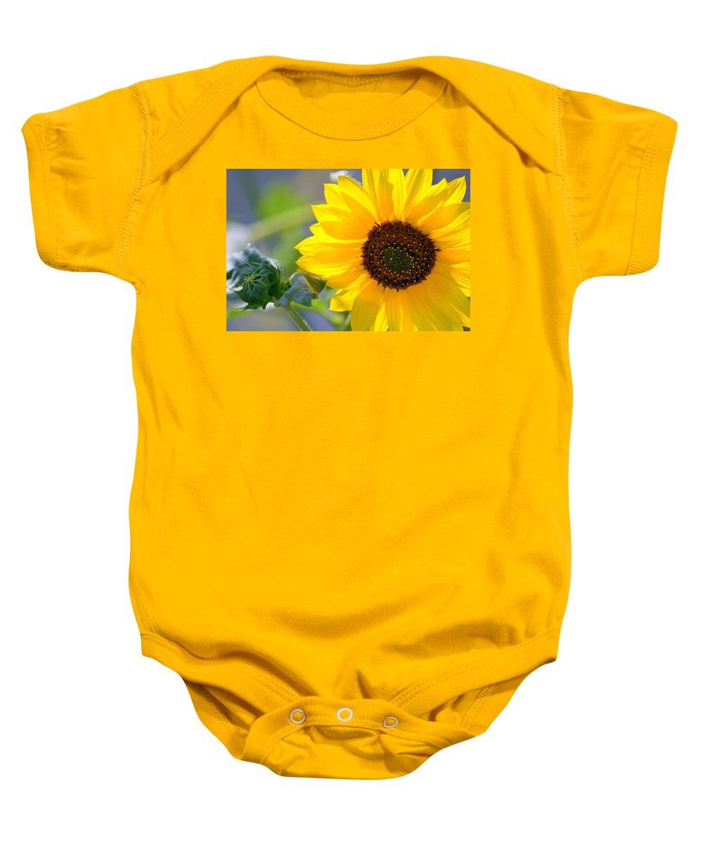 Sunflower Baby Onesie featuring the photograph Wild Sunflower by Nadalyn Larsen