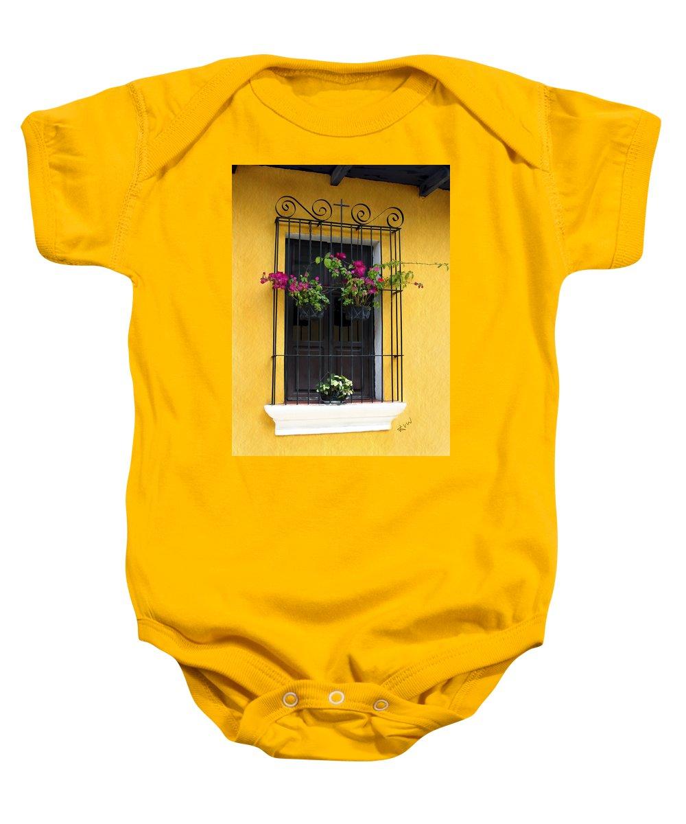 Antigua Baby Onesie featuring the photograph Window At Old Antigua Guatemala by Kurt Van Wagner