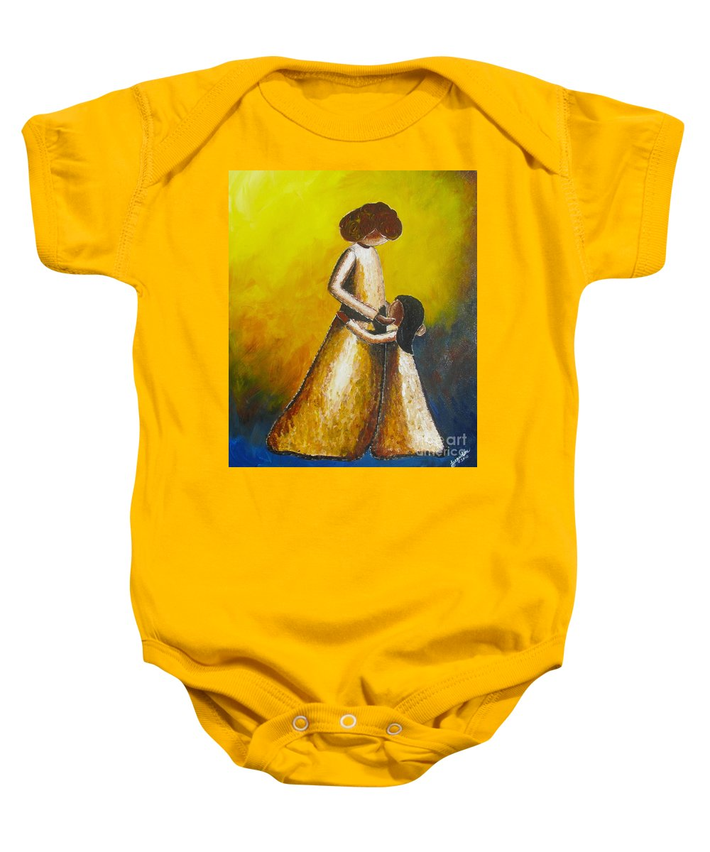 With Her Baby Onesie featuring the painting With Her by Jacqueline Athmann