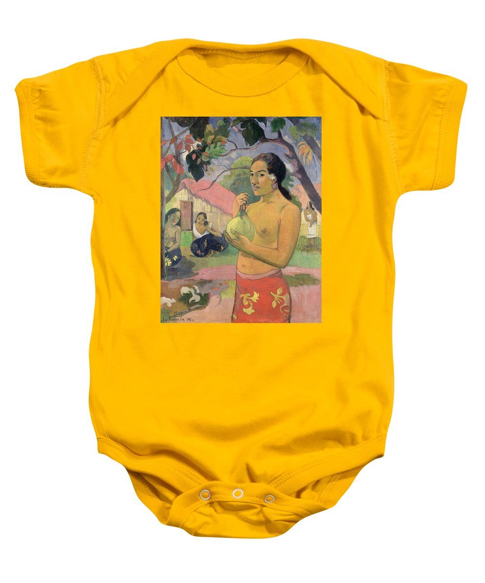Ea Haere Ia Oe Baby Onesie featuring the painting Woman With Mango by Paul Gauguin