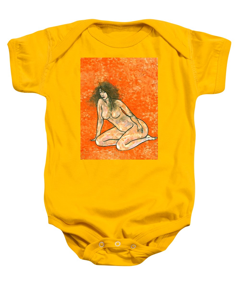 Colour Baby Onesie featuring the painting Woman by Wojtek Kowalski