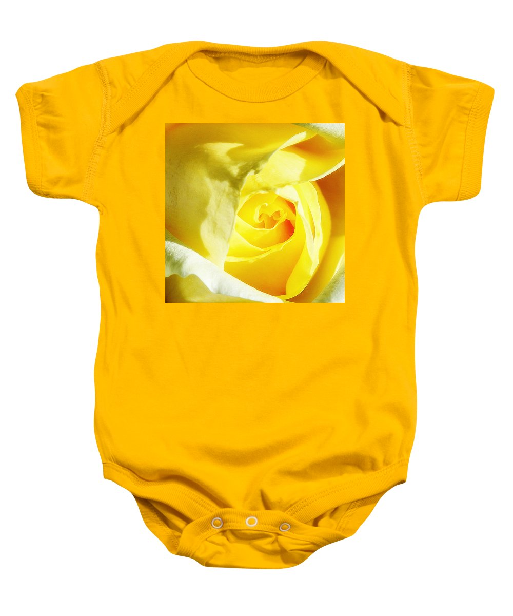 Rose Baby Onesie featuring the photograph Yellow Diamond Rose Palm Springs by William Dey