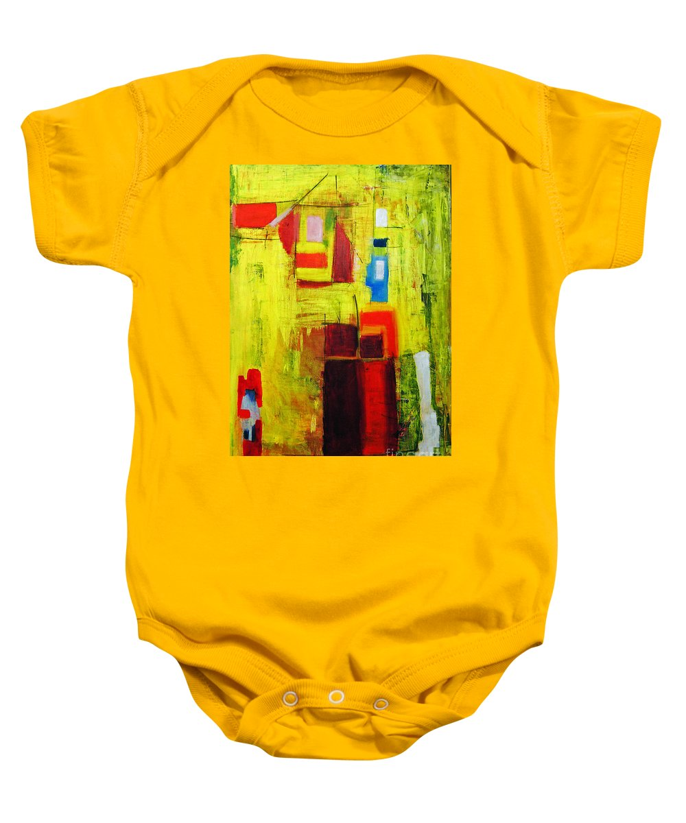 Abstract Painting Baby Onesie featuring the painting Yellow by Jeff Barrett