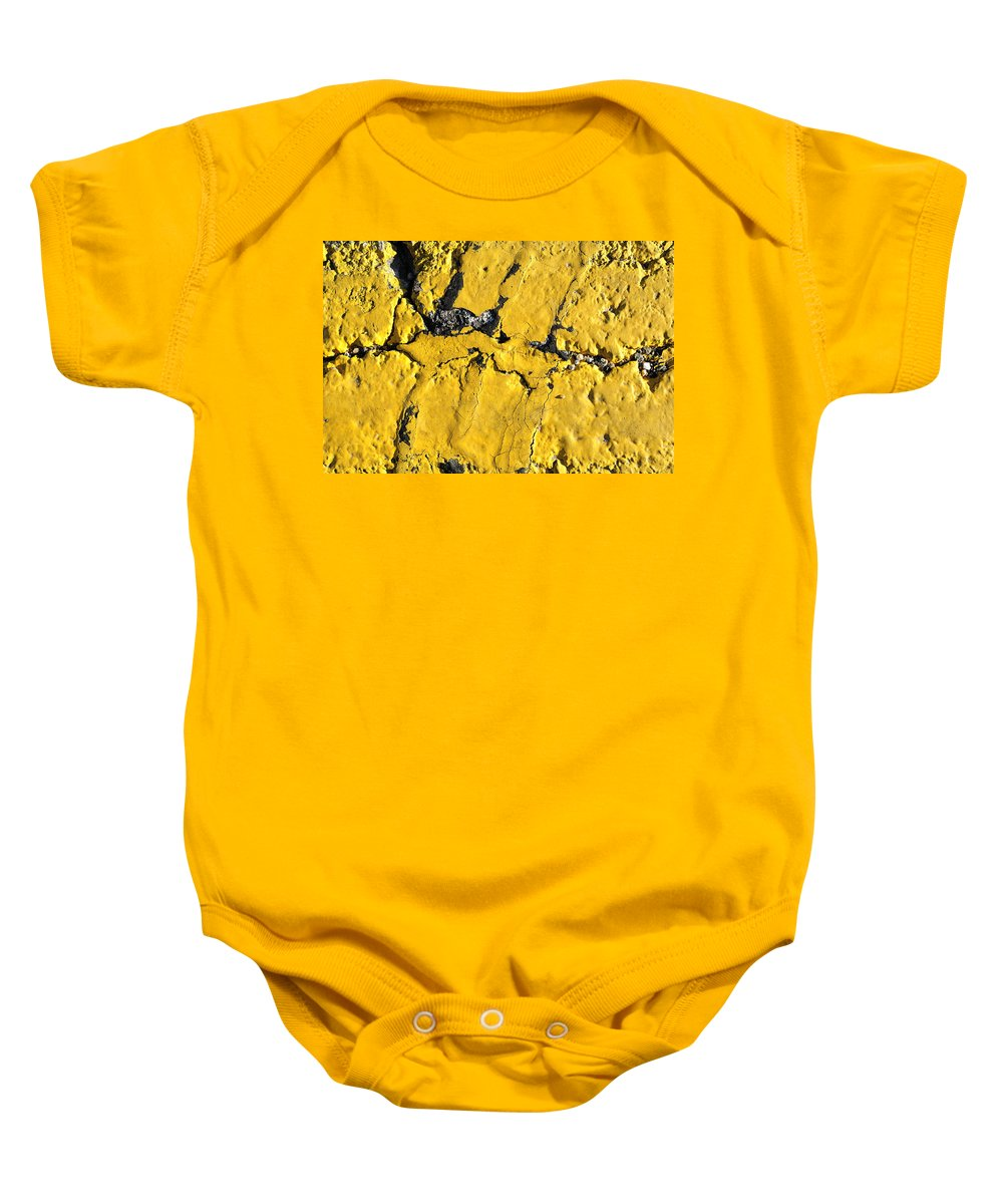 Pavement Baby Onesie featuring the photograph Yellow Line Abstract by Luke Moore