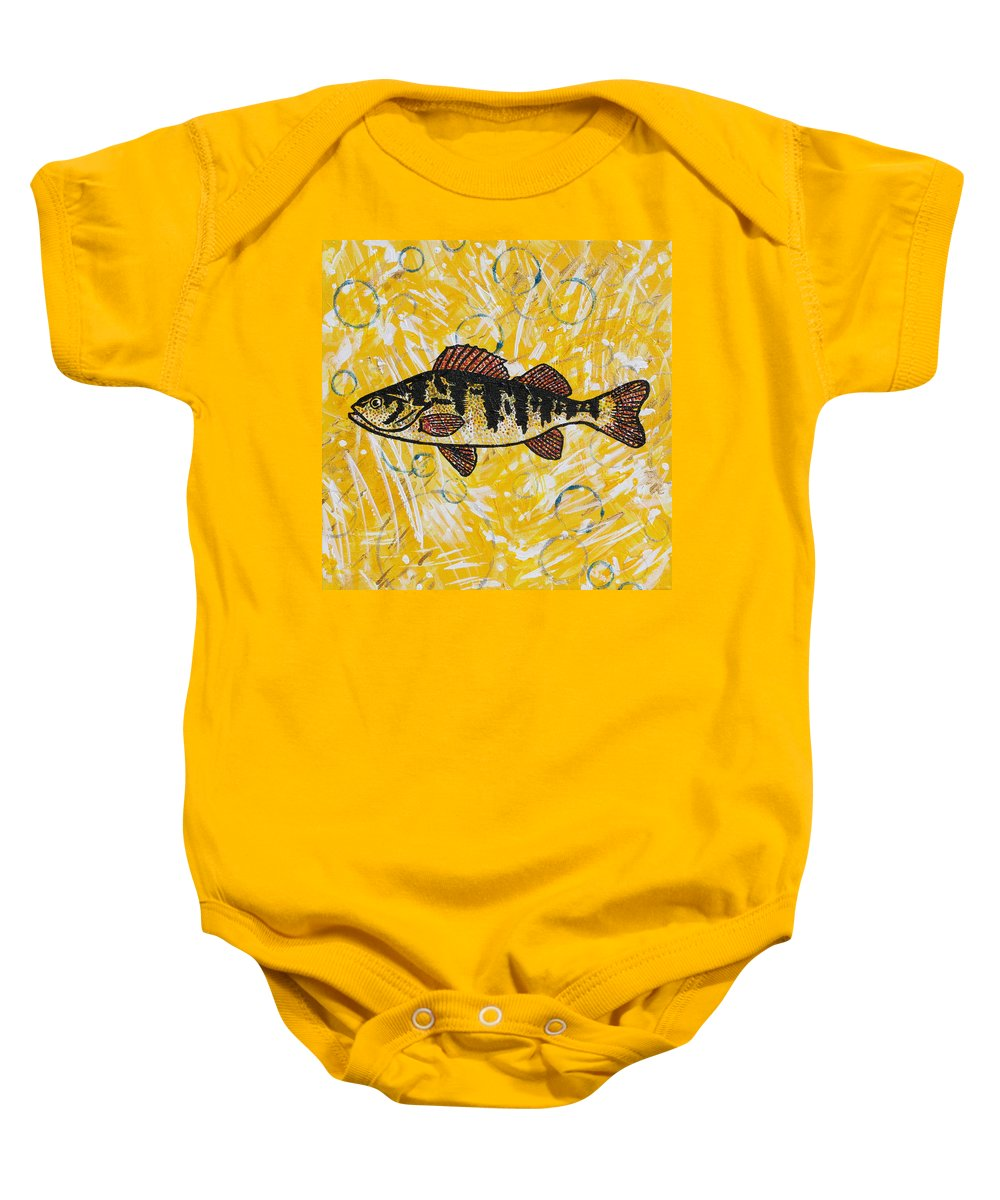 Fish Baby Onesie featuring the painting Yellow Perch by Julianne Hunter