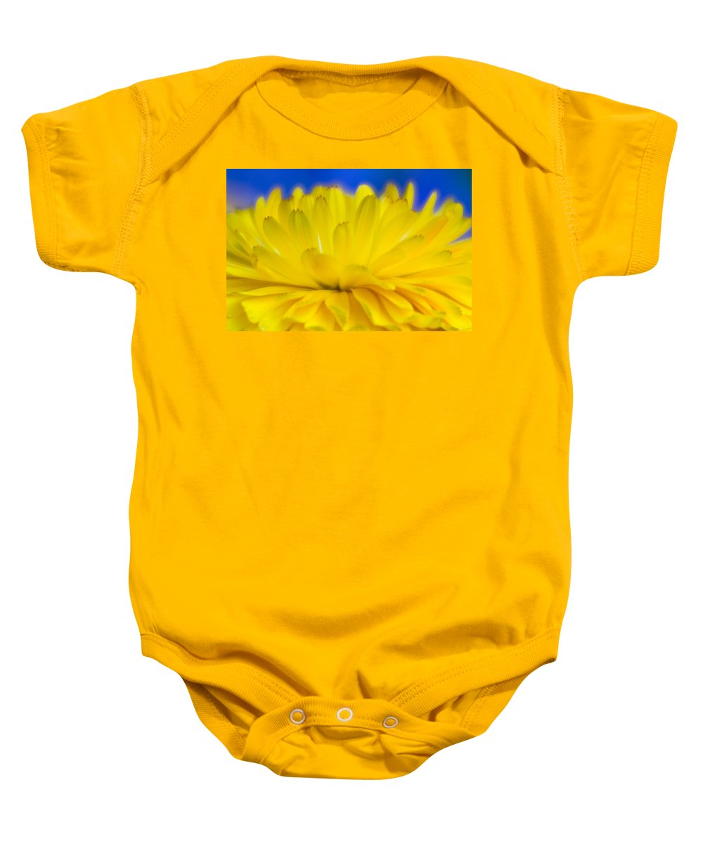 Yellow Flower Baby Onesie featuring the photograph Yellow Petal Explosion by Greg Nyquist