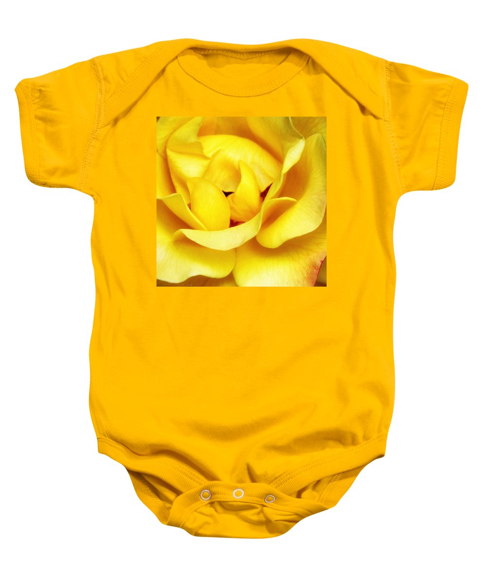 Featured Baby Onesie featuring the photograph Yellow Sapphire Rose Palm Springs by William Dey