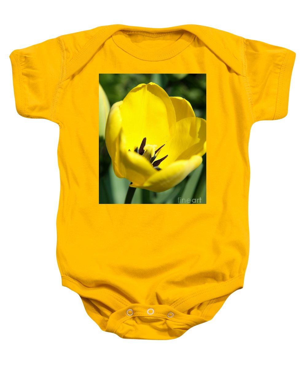 Tulip Baby Onesie featuring the photograph Yellow Tulip Cup by Christiane Schulze Art And Photography