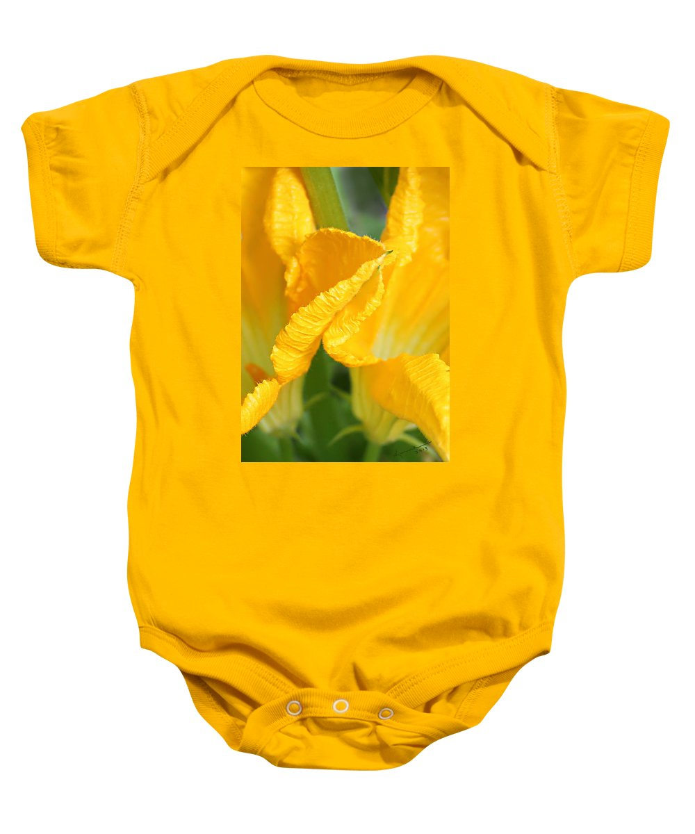 Zucchini Flowers Baby Onesie featuring the photograph Zucchini Flowers In May by Kume Bryant