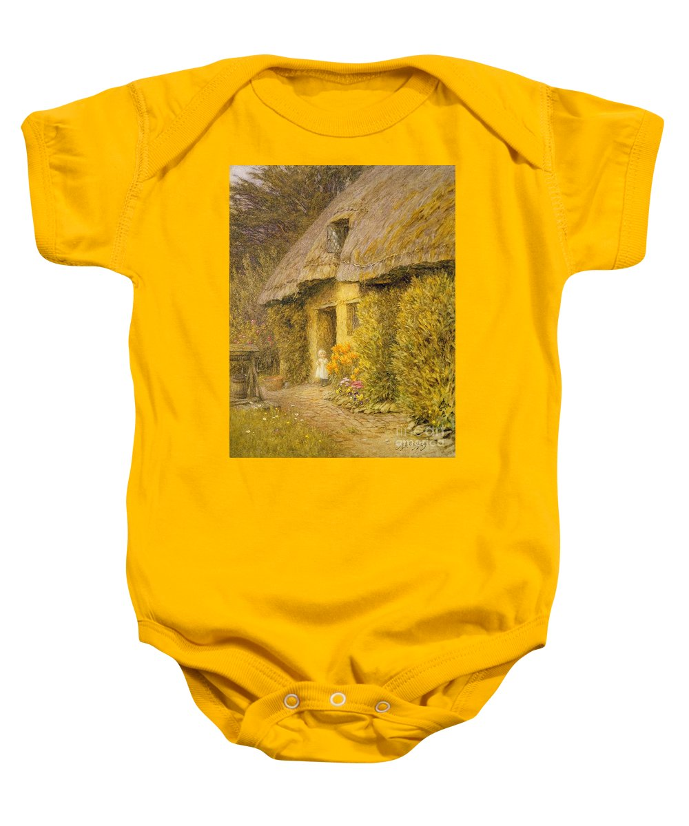 Well Baby Onesie featuring the painting A Child At The Doorway Of A Thatched Cottage by Helen Allingham