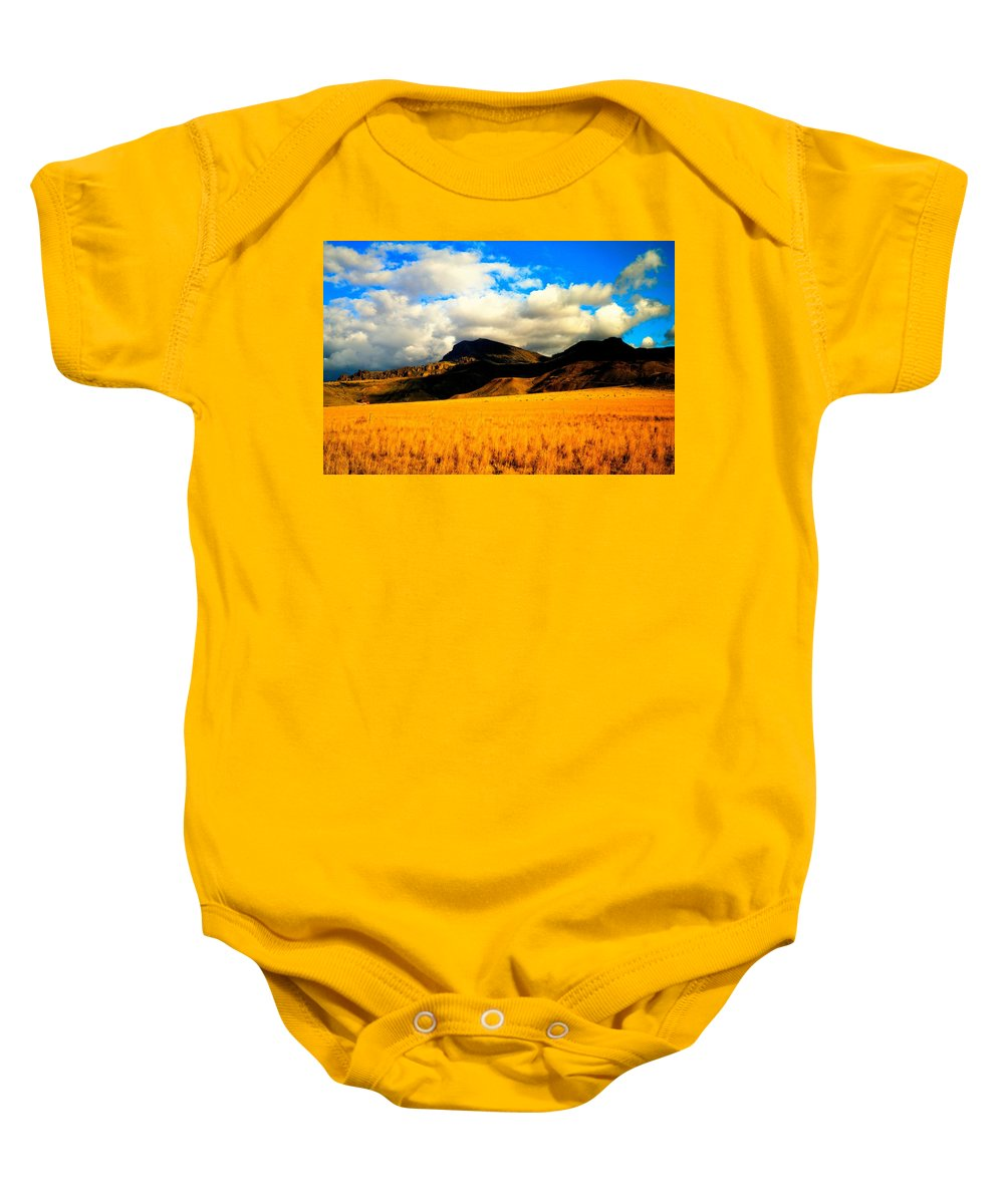 Landscape Baby Onesie featuring the photograph Clouds In The Mountains by Jeff Swan