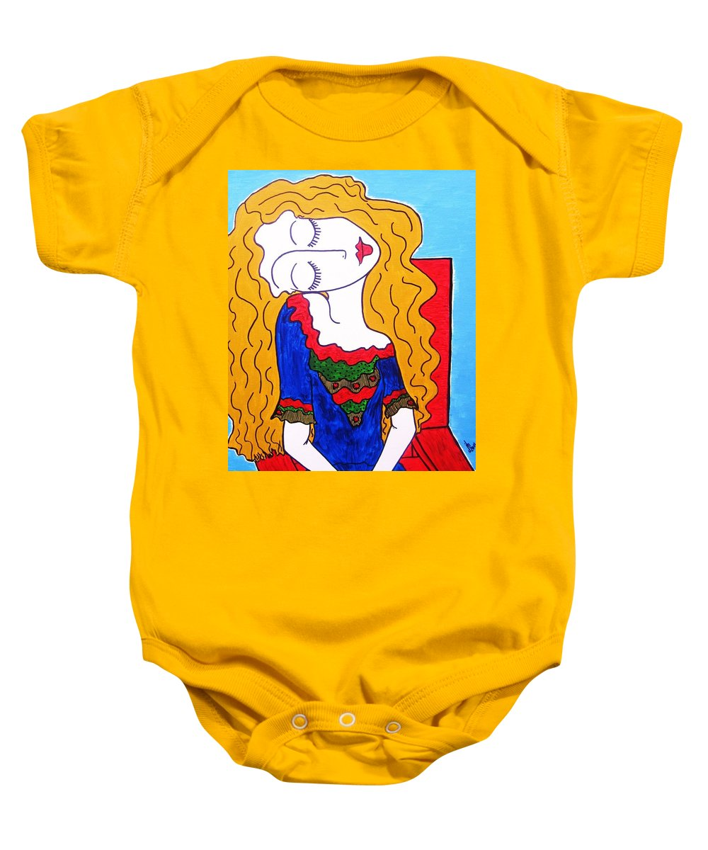 Picasso's Girl Big Eyed Girl Blonde Eye Candy Blonde Baby Onesie featuring the painting Not Picasso's Girl by Janice Heinzelman