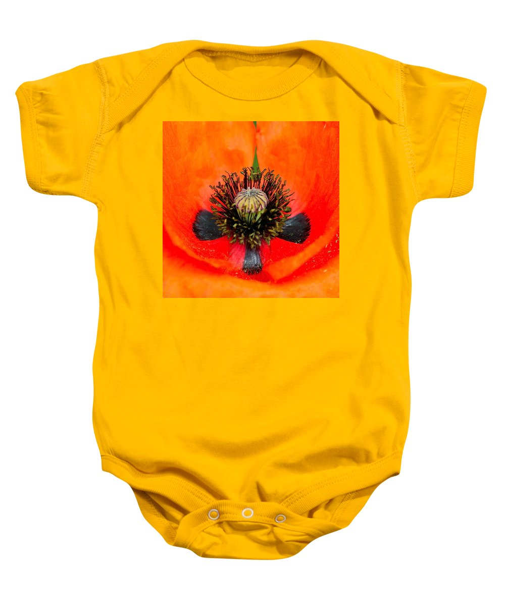 Poppy Baby Onesie featuring the photograph Poppy Heart by Karon Melillo DeVega