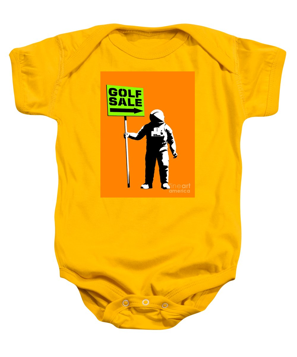 Space Baby Onesie featuring the painting Space Golf Sale by Pixel Chimp