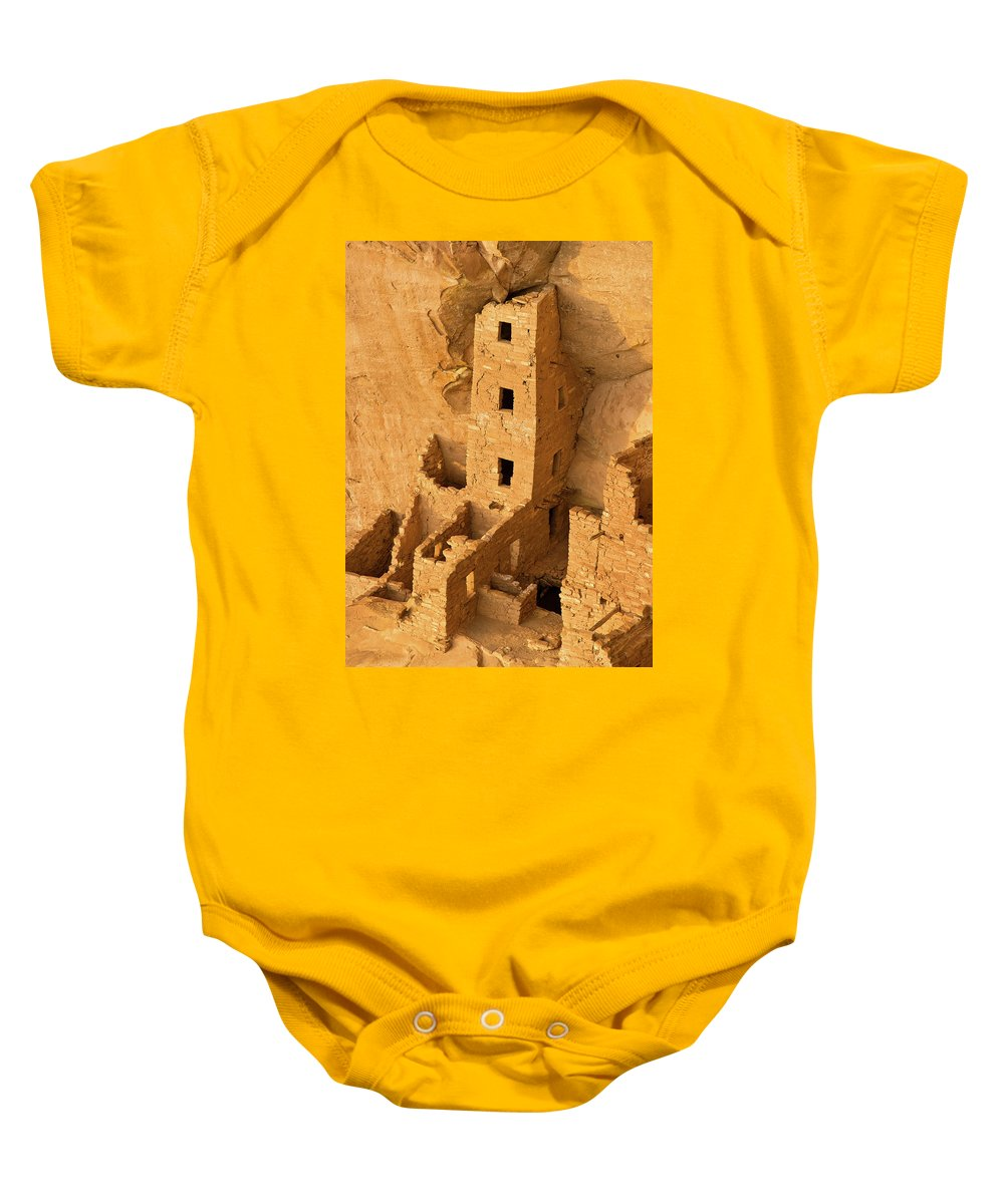 Square Tower Baby Onesie featuring the photograph Square Tower Evening by Greg Nyquist