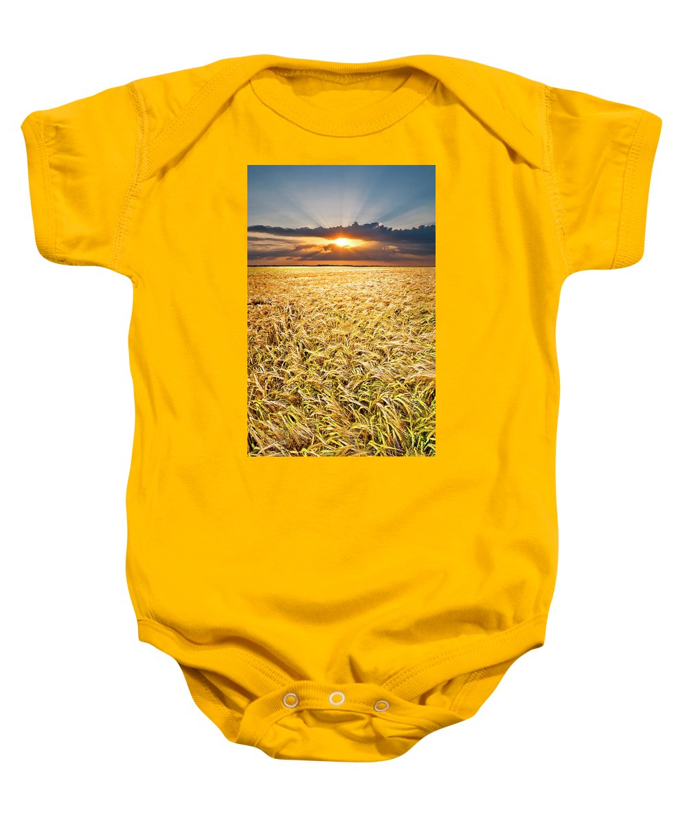 Field Baby Onesie featuring the photograph Sunset Wheat by Meirion Matthias