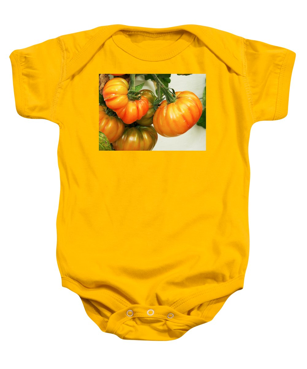 Tomatoes Baby Onesie featuring the photograph Yummy by David Resnikoff