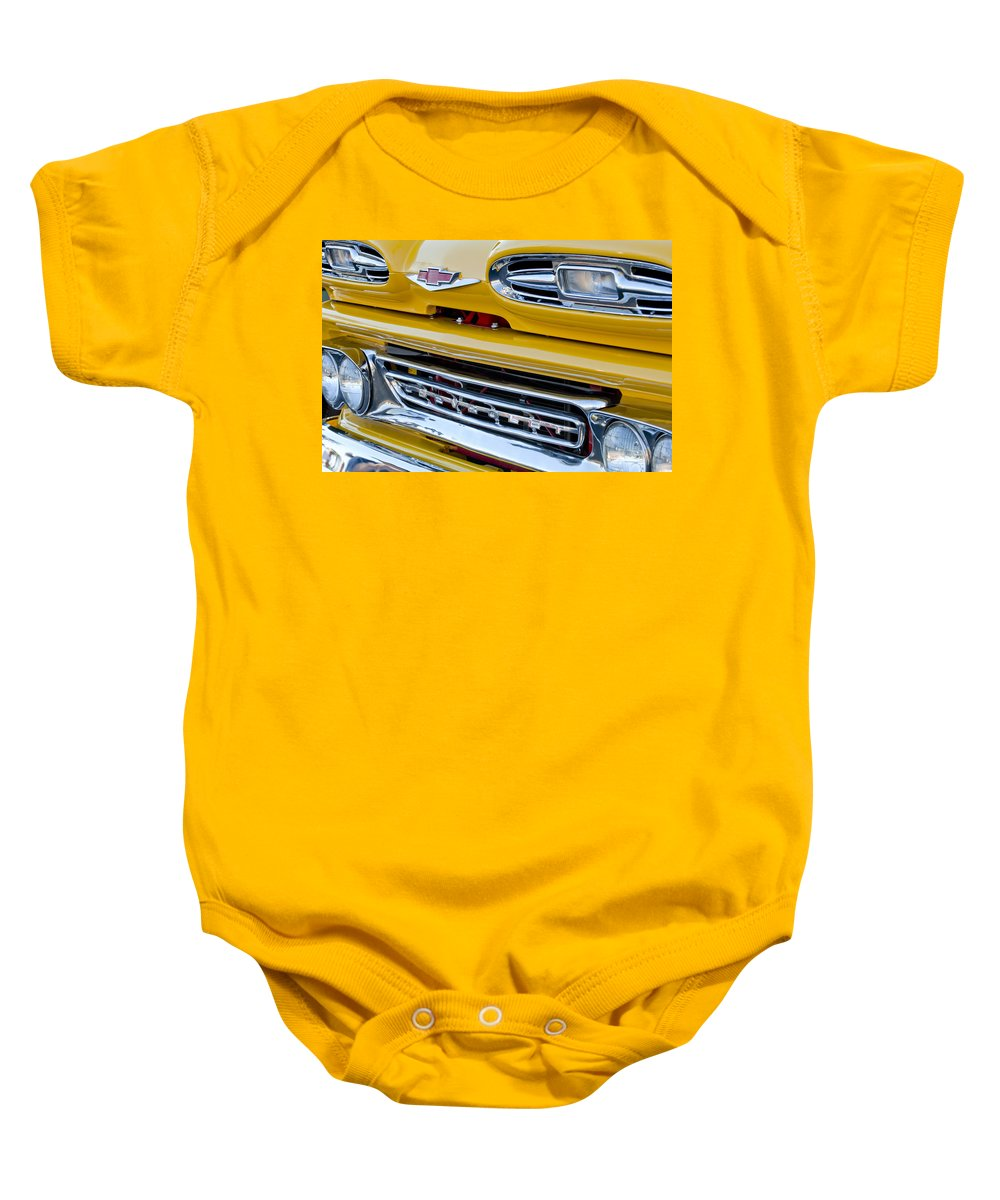 1961 Chevrolet Baby Onesie featuring the photograph 1961 Chevrolet Front End by Jill Reger