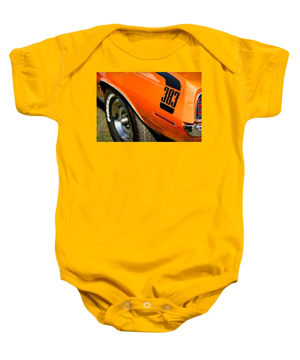 426 Baby Onesie featuring the photograph 1970 Plymouth Cuda Barracuda 383 by Gordon Dean II