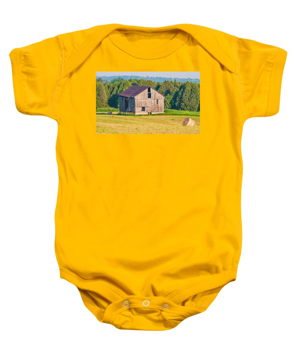 Barn Baby Onesie featuring the photograph 2 Line Barn 15087c by Guy Whiteley