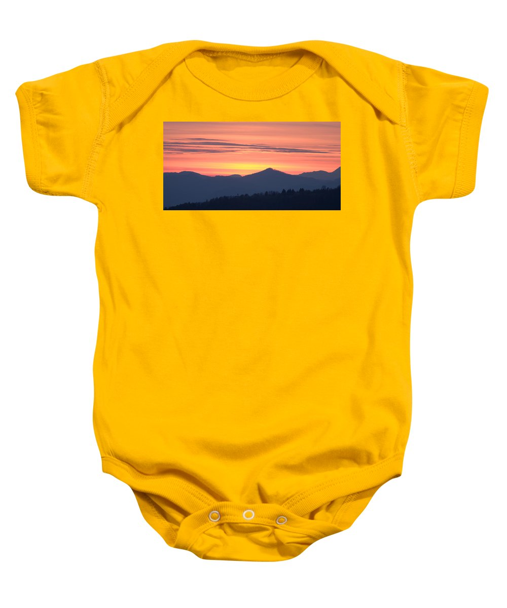 Mountains Baby Onesie featuring the photograph Mountain Sunset by Ian Middleton