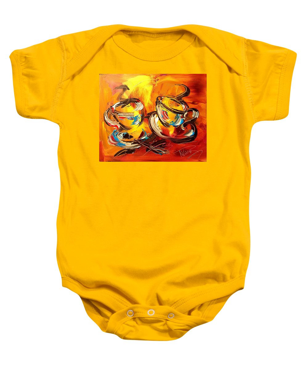 Baby Onesie featuring the painting Coffee by Mark Kazav