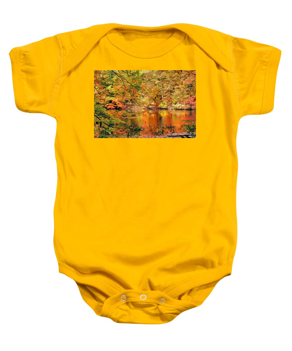 Autumn Baby Onesie featuring the photograph Autumn Reflections by Kristin Elmquist