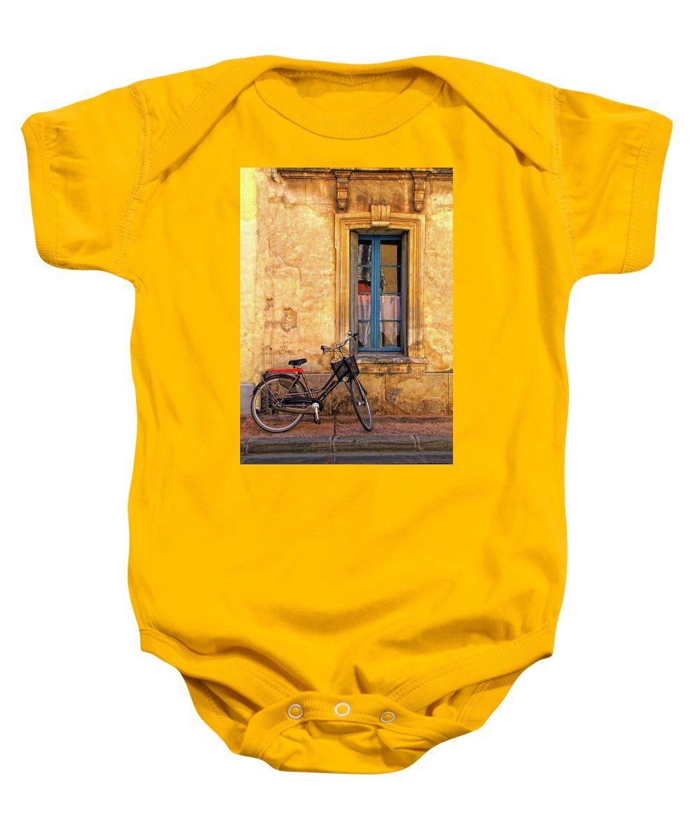 Bicycle Baby Onesie featuring the photograph Bicycle And Window In France by Dave Mills