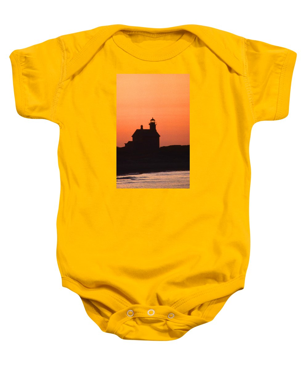 Block Island Baby Onesie featuring the photograph Block Island North West Lighthouse Sunset by Skip Willits