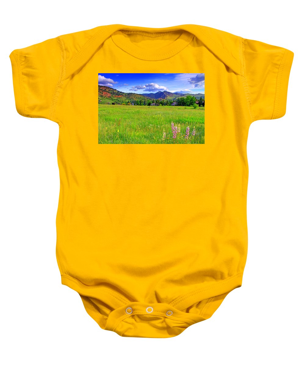 Colorado Baby Onesie featuring the photograph Boulder Park View by Scott Mahon