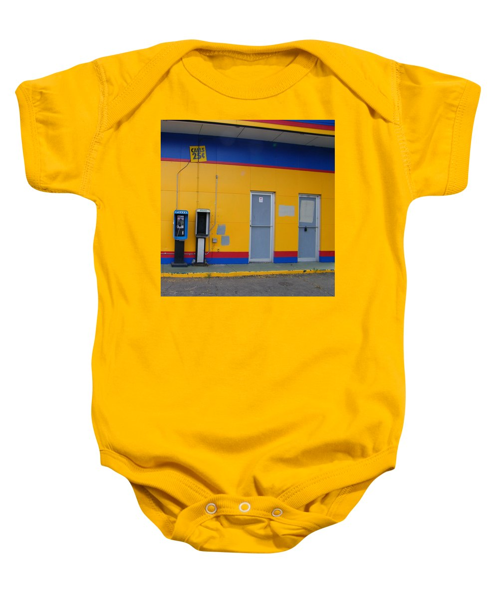 Abstract Baby Onesie featuring the photograph Calls 25 Cents by Lenore Senior