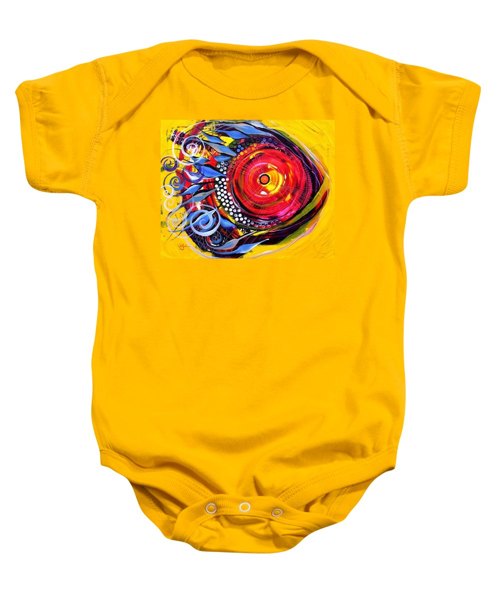Fish Baby Onesie featuring the painting Cautionary Carnival Fish by J Vincent Scarpace