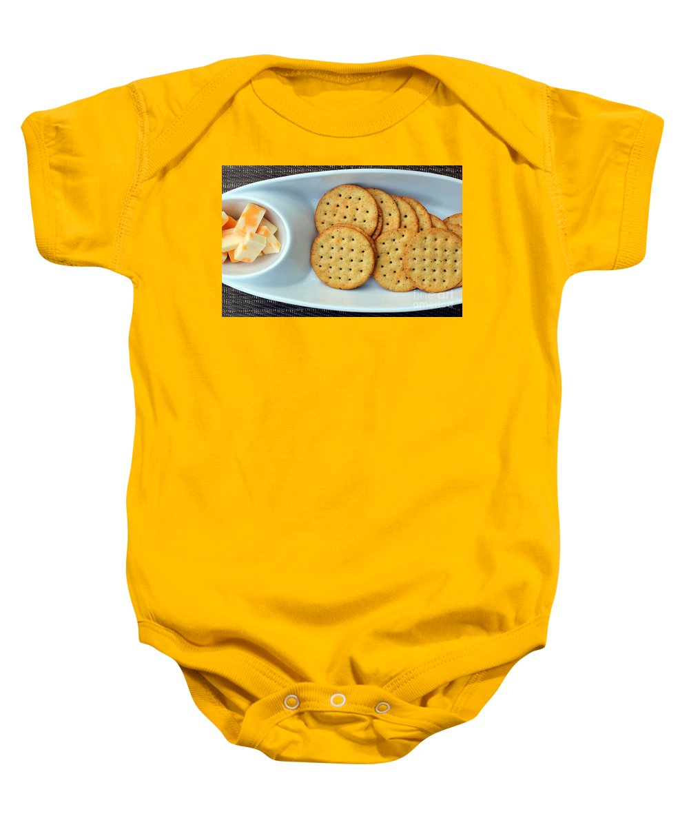 Cheese Baby Onesie featuring the photograph Cheese And Crackers by Barbara Griffin