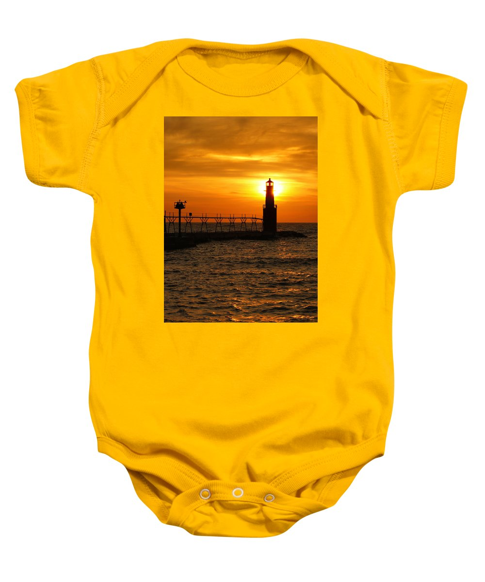 Lighthouse Baby Onesie featuring the photograph Comforting Glow by Bill Pevlor